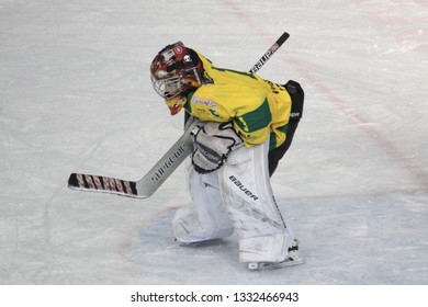 ZILINA, SLOVAKIA - MARCH 6, 2019: Young goalkeeper of junior Slovak ice hockey team MSHKM Zilina in the net during league match against HK Brezno. MSHKM Zilina won this match 8:2.