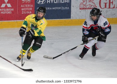 ZILINA, SLOVAKIA - MARCH 6, 2019: Photo of young hockey player of junior Slovak ice hockey team MSHKM Zilina Tomas Ondos (6) during league match against HK Brezno. Zilina won this match 8:2.