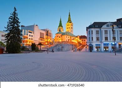 Zilina, Slovakia - May 20, 2016: Main church in the city of Zilina in central Slovakia.