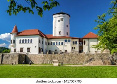 ZILINA, SLOVAKIA - MAY 25: Beautiful Budatin castle and park on May 25, 2019 in Zilina
