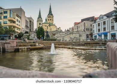 ZILINA, SLOVAKIA - SEPTEMBER 16, 2016:  Holy Trinity Cathedral in Zilina, Slovakia in the evening