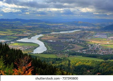 Zilina town in autumn from Mala Fatra mountain. Landscape with lakes, villages and hills from Slovakia.