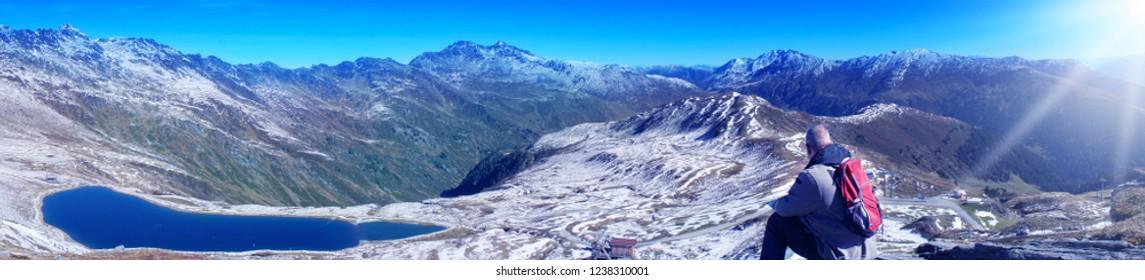 Zillertalarena, man looks at summit in Zillertal