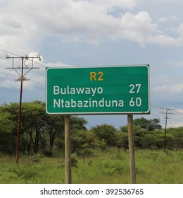 Zimbabwe, 7th March 2016. Roadsigns indicating various destinations.
