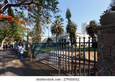 ZIMBABWE, BULAWAYO, OCTOBER 27: African student behind school in Bulawayo, the second largest city in Zimbabwe, October 27, 2014, Zimbabwe