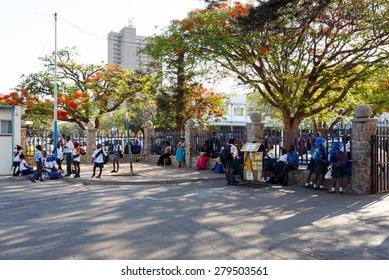 ZIMBABWE, BULAWAYO, OCTOBER 27: African students behind school in Bulawayo, the second largest city in Zimbabwe, October 27, 2014, Zimbabwe