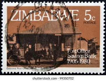 ZIMBABWE - CIRCA 1980: A stamp printed in Zimbabwe shows Gatooma Post Office 1912, circa 1980
