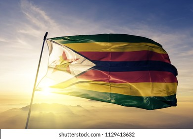 Zimbabwe national flag textile cloth fabric waving on the top