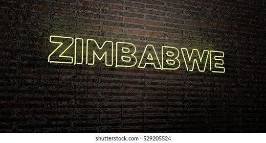 ZIMBABWE -Realistic Neon Sign on Brick Wall background - 3D rendered royalty free stock image. Can be used for online banner ads and direct mailers.