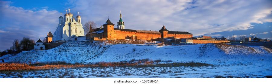 Zimnenskiy Svyatogorskiy the Uspenskiy monastery a?? beautiful  Ukrainian Orthodox Church of Moscow patriarchy  is placed on  Sainted Hills above background river of Meadow (Lug) near a village Zimno - Shutterstock ID 157658414