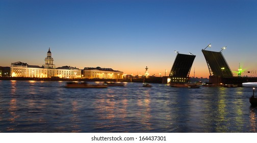 Zimny Bridge in St. Petersburg, Russia, in summer white night time - Shutterstock ID 164437301