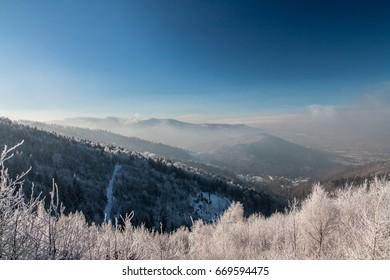 Pi?kny zimowy krajobraz. Zamro?one drzewa, du?o ?niegu - Shutterstock ID 669594475