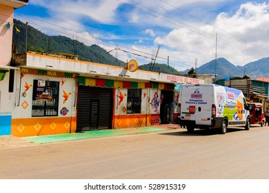 ZINACANTAN, MEXICO - NOV 2, 2016: Architecture of the main street of Zinacantan, state of Chiapas, Mexico. The town is inhabited by the indigenous Tzotzil Maya people
