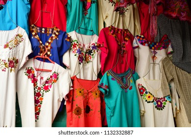 Zinacantan; United Mexican States - may 15 2018 : cloth shop in the village centre
