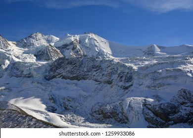 the Zinalrothorn and the knife edge ridge Arret du Blanc above the Moming Glacier in the Southern Swiss Alps between Zinal and Zermatt
