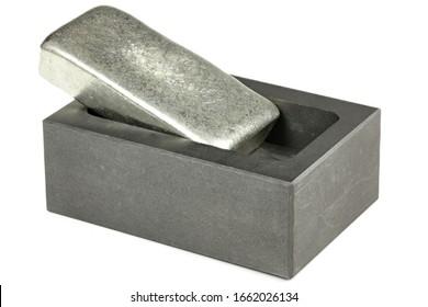 zinc bar on graphite mold isolated on white background