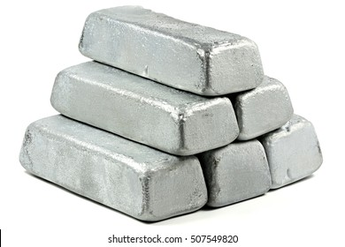 zinc ingots isolated on white background