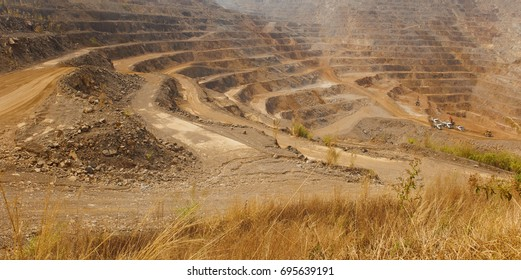 Zinc mine. Background of mining industrial landscape on the open pit. Opencast textured land.