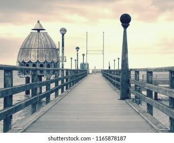Zingst Germany - January 25 2018: Art and attraction on the seebruecke - wooden sea bridge in Baltic sea.  Darss peninsula Fischland-Darss-Zingst Germany