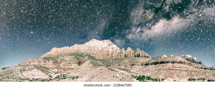 Zion National Park aerial viewon a starry night, Utah.