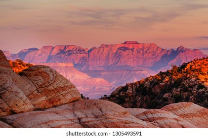 Zion National Park. Beautiful unspiring natural landscapes. Peak in Zion Park at sunset.