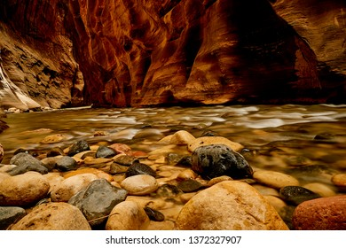 Zion National park beautiful view of the virgin river surrounded with colorful rocks Utah USA