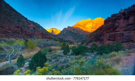 Zion National Park canyon sunrise