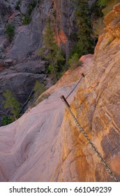 Zion National Park, Hidden Canyon, Chain climb