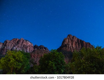 Zion national park at night with star,utah,usa.