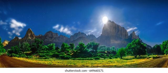 Zion National Park panoramic moon rise above Watchman Peak.  Zion National Park, Utah.