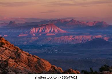 Zion  National Park at sunrise. Utah, Usa