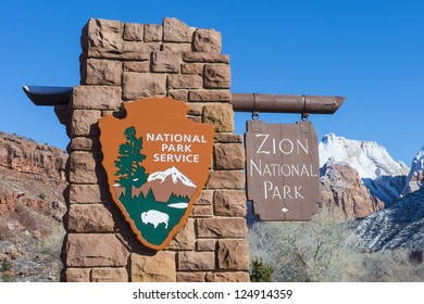 The Zion national park in Utah on winter