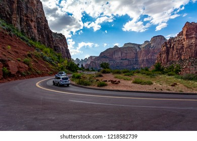 Zion National Park, Utah, USA. Nature preserve distinguished by Zion Canyon's steep red cliffs. Zion Canyon Scenic Drive cuts through its main section, leading to forest trails along the Virgin River.