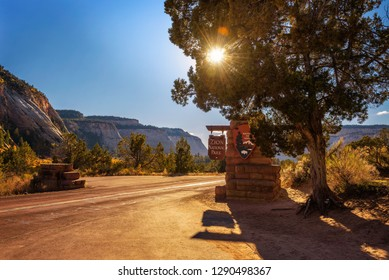Zion National Park, Utah, USA - October 21, 2018 : Welcome sign at the entrance to Zion National Park before sunset.