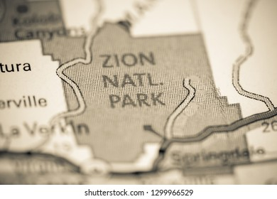 Zion National Park. Utah. USA on a map