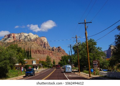 ZION, UTAH - SEP 27, 2013 - Traffic through small town outside Zion National Park, Utah