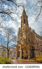 Zionskirche in autumn in Berlin, Germany