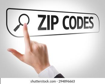 Zip Codes written in search bar on virtual screen