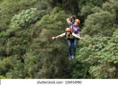 ZIP LINE ADVENTURE IN ECUADORIAN RAINFOREST, BANOS DE AGUA SANTA