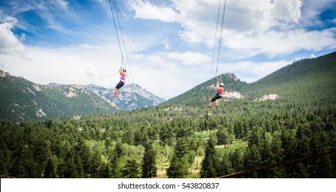 Zip lining in Colorado