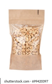 Zip lock package with peanuts isolated on white background.