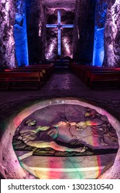 ZIPAQUIRA, COLOMBIA - APRIL 22: Artwork in the salt cathedral in Zipaquira, Colombia on April 22, 2016