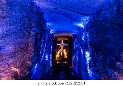 ZIPAQUIRA, COLOMBIA - OCTOBER 22, 2015: Chapel in underground Salt Cathedral Zipaquira built within the multicolored tunnels from a mine.