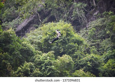 Zipline exciting sport adventure activity hanging on the big tree in the forest at vang vieng laos
