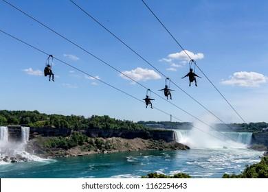 Zipline ride at Niagara Falls in summer