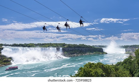 Zipline ride at Niagara Falls in summer