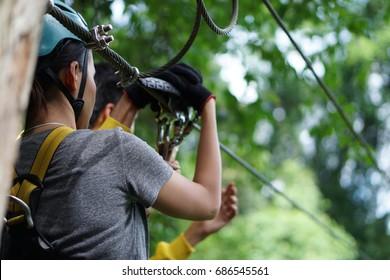 Zipline in Vang Vieng, Laos during summer season