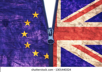 Zipped Grungy European Union and United Kingdom flags brexit split