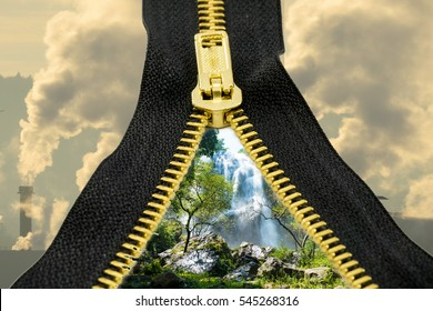Zipper black brass Black brass zipper pull out the inner nature. Outside smoke pollution.