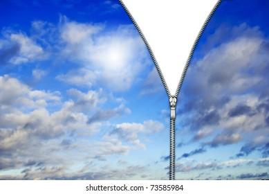 Zipper and blue clouds